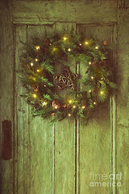 Photograph - Holiday Wreath On Wooden Door/ Digital Painting by Sandra Cunningham