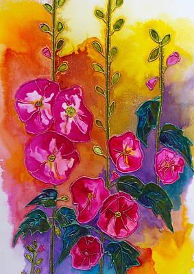 Holly Hocks Painting - Blooming Holly Hocks by Antoinette  Andersen