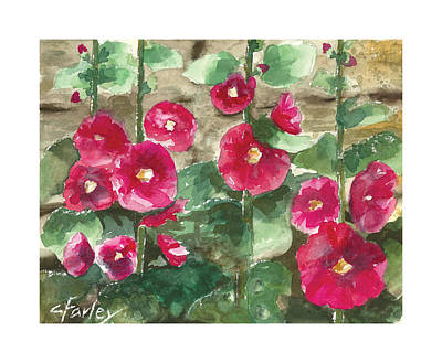 Holly Hocks Painting - Hollyhock Wall by Corie Farley