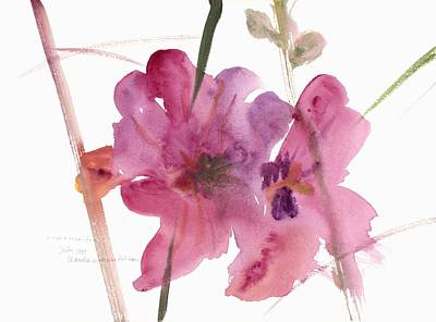 Flora Painting - Hollyhocks by Claudia Hutchins-Puechavy