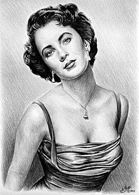 Brunette Drawing - Hollywood Greats  Elizabeth Taylor by Andrew Read