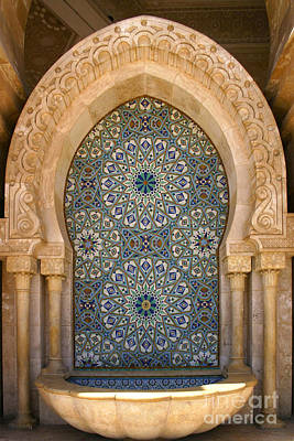 Holy Water Fountain Hassan II Mosque Sour Jdid Casablanca Morocco  Print by Ralph A  Ledergerber-Photography