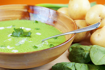 Photograph - Homemade Potato And Spinach Soup by Alexey Stiop