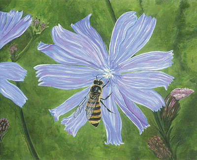 Painting - Honeybee On Chicory by Lucinda VanVleck