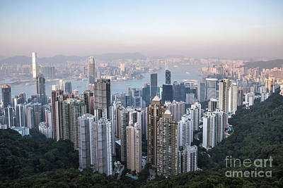 Hong Kong Skyline From Victoria Peak At Sunset Print by Matteo Colombo