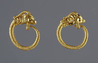Gold Earrings Drawing - Hoop Earrings With Antelope-head Finials Unknown Alexandria by Litz Collection