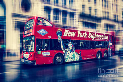 Hop On Hop Off Bus Photograph - hop on hop off  through NYC by Hannes Cmarits