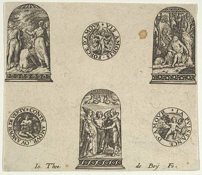 Theodor De Bry Drawing - Horizontal Panel With Three Thimble by Johann Theodor de Bry