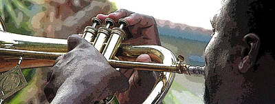 Jerry Sodorff Royalty-Free and Rights-Managed Images - Horn Player 0072 by Jerry Sodorff