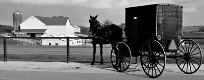 Horse And Buggy And Farm Print by Frozen in Time Fine Art Photography