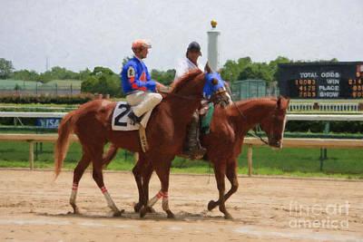 Racetrack Digital Art - Horse Racing by Jill Lang