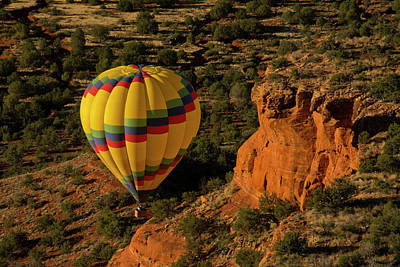 Baskets Photograph - Hot Air Balloon, Red Rock, Coconino by Michel Hersen