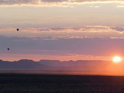 Hot Air Balloon Photograph - Hot Air Balloons Rising Above Desert by Panoramic Images