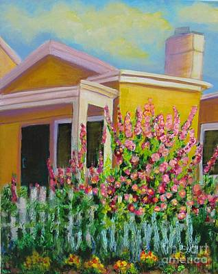 Painting - Hot Hollyhocks by Laurie Morgan