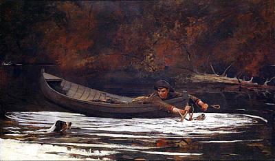 Canoe Digital Art - Hound And Hunter by Winslow Homer