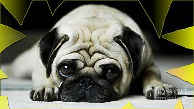 Pug Mixed Media - House Broken Pug Puppy by Marvin Blaine