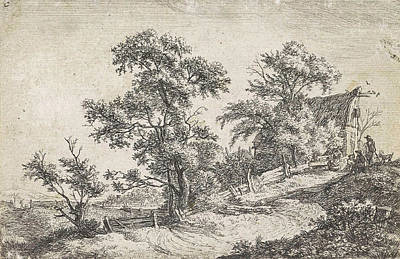 Solitary Drawing - House On A Path On A Hill, Anthonie Waterloo by Anthonie Waterloo