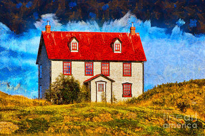 Photograph - House With Red Roof by Les Palenik