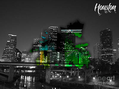 Houston Texas Map And Skyline Watercolor Art Print by Marvin Blaine