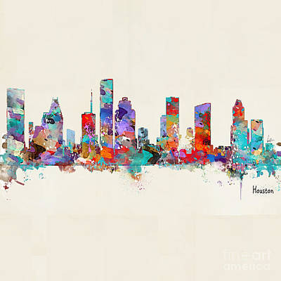 Painting - Houston Texas Skyline by Bri B