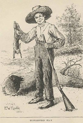 Wall Art - Drawing - Huckleberry Finn Illustration by