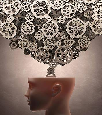 Human Head Photograph - Human Head With Cogs by Ktsdesign