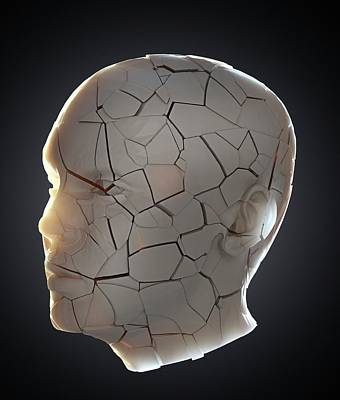 Human Head Photograph - Human Head With Cracks by Andrzej Wojcicki