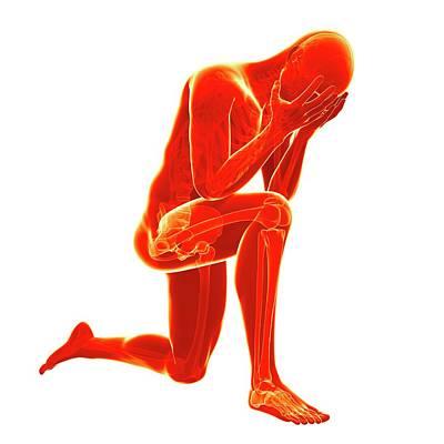 Human Kneeling In Pain Art Print