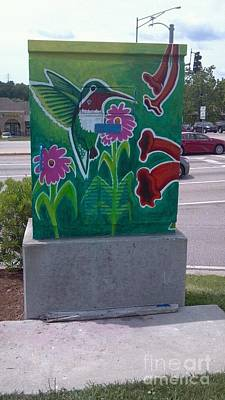 Painting - Hummingbird Traffic Signal Box by Genevieve Esson