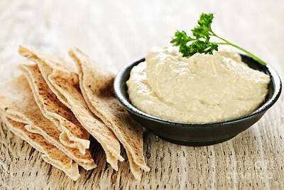 Paste Photograph - Hummus With Pita Bread by Elena Elisseeva