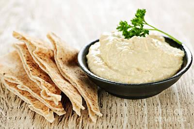 Hummus With Pita Bread Print by Elena Elisseeva