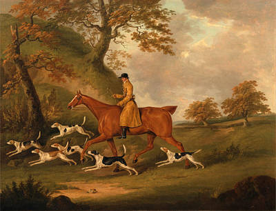 Famous Horse Art Painting - Huntsman And Hounds by John Nott Sartorius
