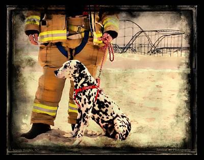 Jetstar Roller Coaster Photograph - Hurricane Sandy Fireman And Dog by Jessica Cirz