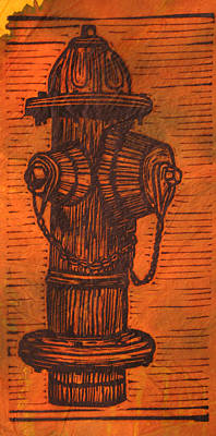 Austin Drawing - Hydrant by William Cauthern