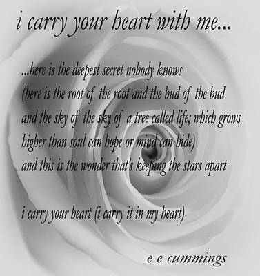 I Carry Your Heart With Me... Art Print by Steve Harrington