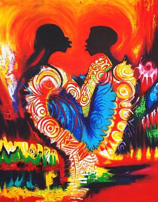 Akuaba Painting - I Love You by Olumide Egunlae