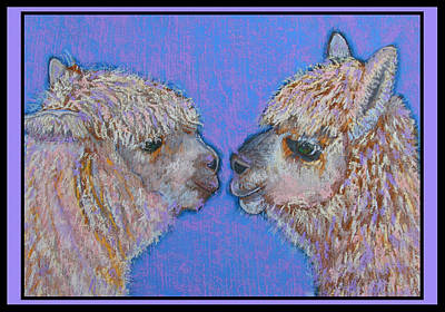 Llama Mixed Media - I Luv You by Raela K