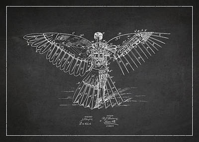 Icarus Flying Machine Patent Drawing Rear View Print by Aged Pixel