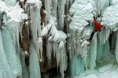 Ouray Photograph - Ice Climber Ascending At Ouray Ice by Howie Garber