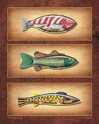 Ice Fishing Painting - Ice Fishing Decoys by JQ Licensing