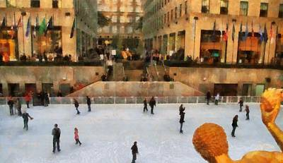 Nyc Mixed Media - Ice Skating In New York City by Dan Sproul