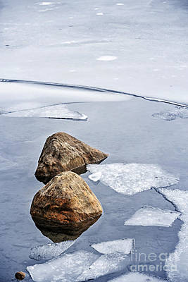 Thawing Photograph - Icy Shore In Winter by Elena Elisseeva