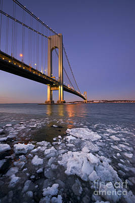 David Bowie Royalty Free Images - Icy Waters At Verrazano Bridge Royalty-Free Image by Michael Ver Sprill