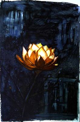 Illuminated Lotus Art Print by Tara Thelen