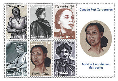 Black History Digital Art - Illustrated Stamps Portia White And Maude Abbott by Monica Margarida