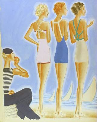 Illustration Of Models On A Beach Wearing Bathing Art Print by Pierre Mourgue