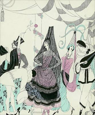 Ruff Digital Art - Illustration Of People At A Costume Party by Helen Dryden