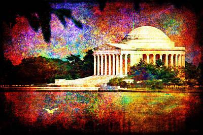 Jefferson Memorial Digital Art - Impressionistic Jefferson Memorial by Gary Cain
