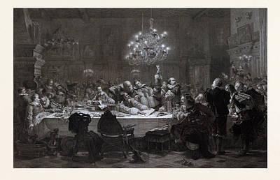 Czech Drawing - In 1634 Wallenstein Convoked Around Fifty Officers In Pilsen by Czech School
