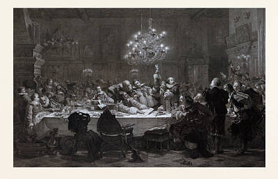 In 1634 Wallenstein Convoked Around Fifty Officers In Pilsen Art Print by Czech School